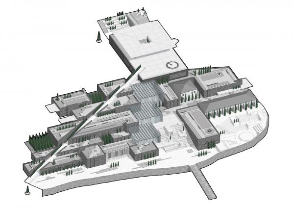 Аксонометрический вид   музейно-выставочного комплекса © Студия 44