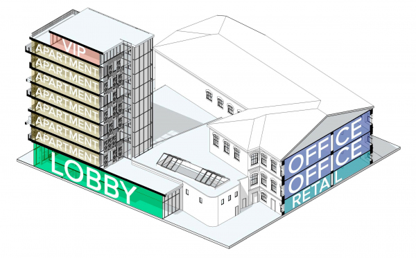 Разрез территории. Проект №1: Город-сад на Плутоне с технологиями XXI века. Проект победитель © RE (New)