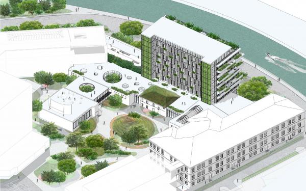 Общий вид территорий. Проект №1: Город-сад на Плутоне с технологиями XXI века. Проект победитель © RE (New)