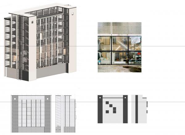 Принцип построения фасада. Проект №2: Digital-кластер, синергия технологий и творчества © RE (New)