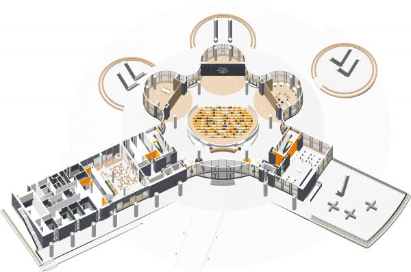 Аксонометрия 1 этаж. Школа Wunderpark © Archstruktura/предоставлено PR-студия «ЛЮДИ»