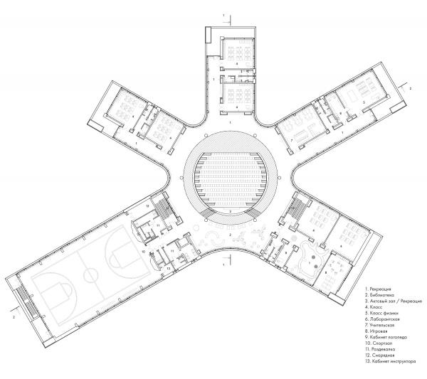 План 2-го этажа. Школа Wunderpark © Archstruktura/предоставлено PR-студия «ЛЮДИ»