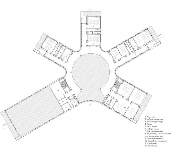 План 3-го этажа. Школа Wunderpark © Archstruktura/предоставлено PR-студия «ЛЮДИ»