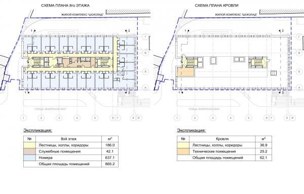 Гостиница на ул. Земляной Вал. Схема плана типового и 8 этажей © Архитектурная мастерская «ГРАН»