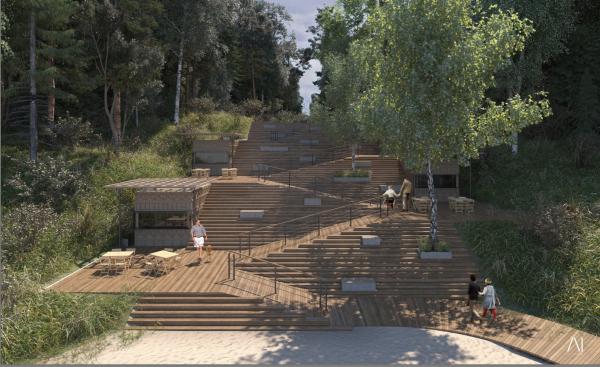 Смотровая лестница. Рекреационная зона «Волкуша» © AI-architects