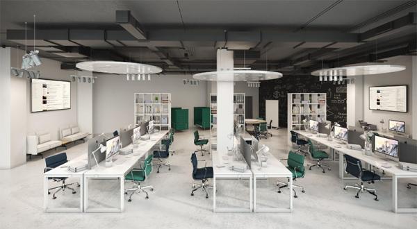 Дизайн-концепция новой штаб-квартиры телекомпании НТВ © ОФИСПРОЕКТ