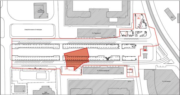 План с учетом подземных конструкций метро. Сокольническая площадь © Megabudka