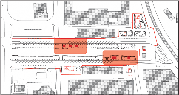 Места расположения венткиосков и туалетаи необходимые отступы. Сокольническая площадь © Megabudka