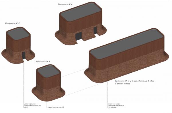 Форма дополнительных объемов: венткиоски и общественный туалет. Сокольническая площадь © Megabudka