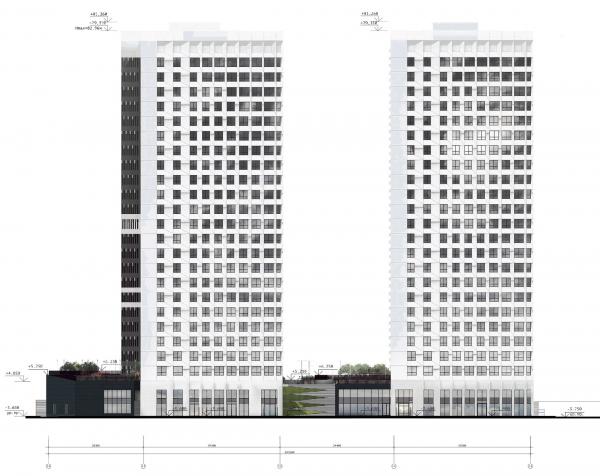 Схема фасада в осях П.Э-1А. ЖК «31 квартал» © Проектное бюро «Крупный План»