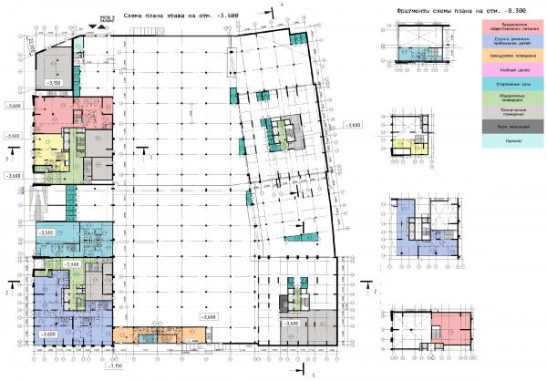 Схема плана этажа на отметке -3.600 ЖК «31 квартал» © Проектное бюро «Крупный План»