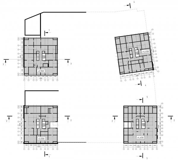 Схема плана нижнего технического пространства на отметке +2.550 и +4.450 ЖК «31 квартал» © Проектное бюро «Крупный План»