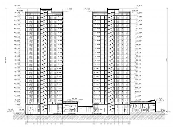 Разрез 1-1. ЖК «31 квартал» © Проектное бюро «Крупный План»