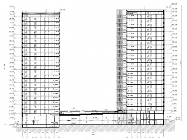 Разрез 2-2. ЖК «31 квартал» © Проектное бюро «Крупный План»