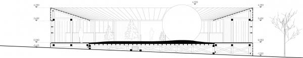 Разрез с видом на арт-объект «Солнце». Павильон Снегосад в Зарядье © Лавка