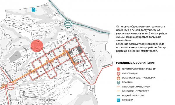 Транспортная схема. Создание парка «Крымская горка» в г. Новохоперск © ПГС Проект