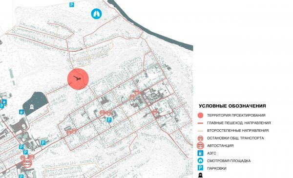 Карта-схема пешеходной доступности. Создание парка «Крымская горка» в г. Новохоперск © ПГС Проект