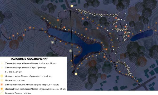 План освещения. Создание парка «Крымская горка» в г. Новохоперск © ПГС Проект