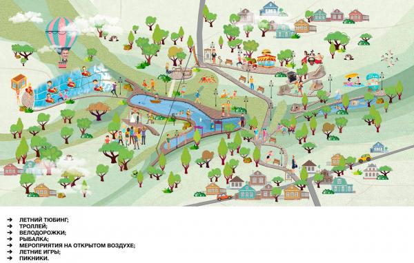 Сценарий использования в летнее время. Создание парка «Крымская горка» в г. Новохоперск © ПГС Проект