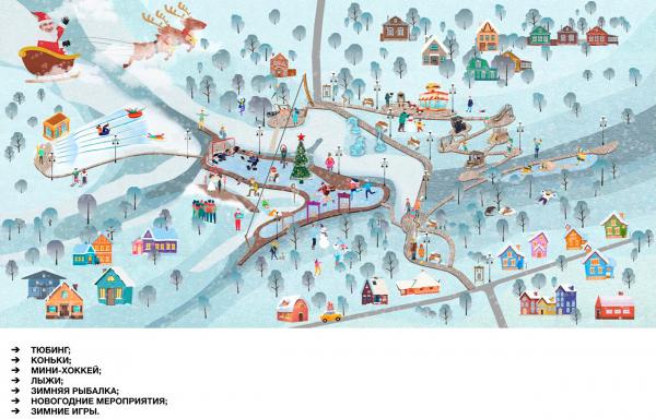 Сценарий использования в зимнее время. Создание парка «Крымская горка» в г. Новохоперск © ПГС Проект