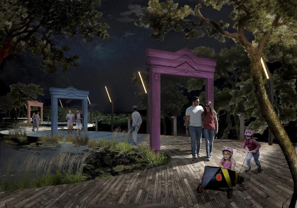 Ночной вид на пруд. Создание парка «Крымская горка» в г. Новохоперск © ПГС Проект