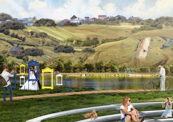 Вид с холма на амфитеатр. Создание парка «Крымская горка» в г. Новохоперск © ПГС Проект