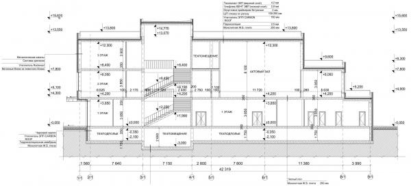 Разрез 1-1. Общеобразовательная школа на 275 мест © Архитектурное бюро ASADOV, Академпроект