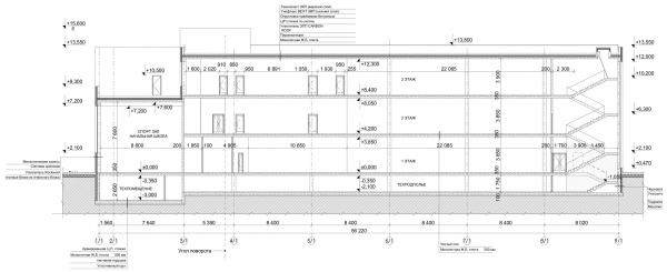 Разрез 2-2. Общеобразовательная школа на 275 мест © Архитектурное бюро ASADOV, Академпроект