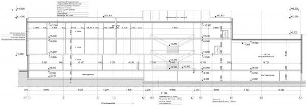 Разрез 4-4. Общеобразовательная школа на 275 мест © Архитектурное бюро ASADOV, Академпроект