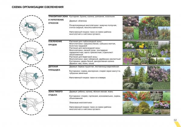 Схема организации озеленения. Создание парка «Крымская горка» в г. Новохоперск © ПГС Проект