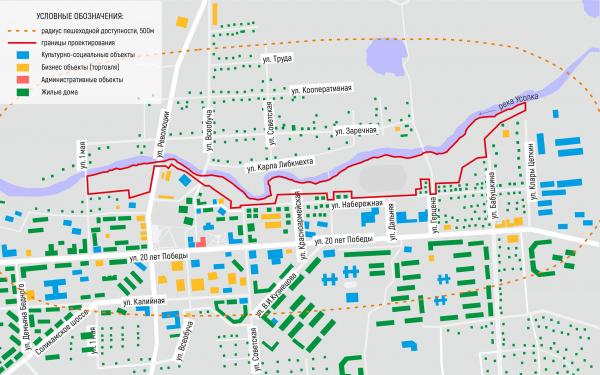 Существующее функциональное зонирование территории. Соляная верста © ISAEV Architects