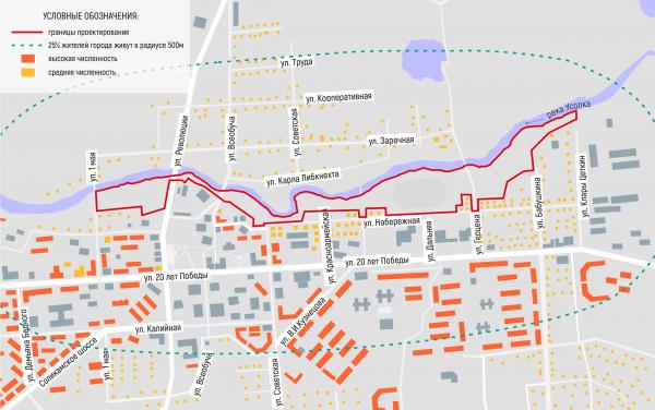 Схема отображающая численность населения, проживающего в пешеходной доступности от территории. Соляная верста © ISAEV Architects