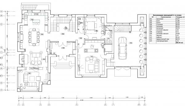 План 1-го этажа с расстановкой мебели. Дом в Подмосковье © Архитектурное бюро Романа Леонидова