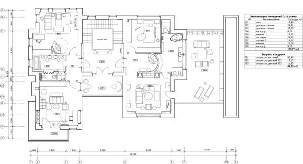 План 2-го этажа с расстановкой мебели. Дом в Подмосковье © Архитектурное бюро Романа Леонидова