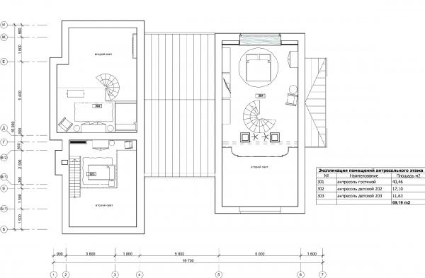 План антресольного этажа. Дом в Подмосковье © Архитектурное бюро Романа Леонидова