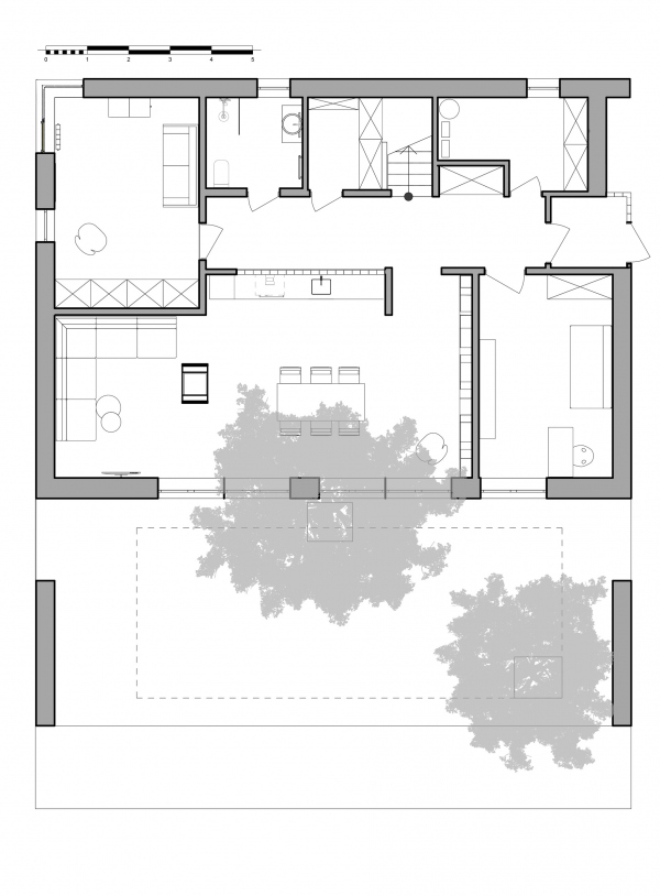План 1-го этажа. Горка Дом © Snegiri Architects