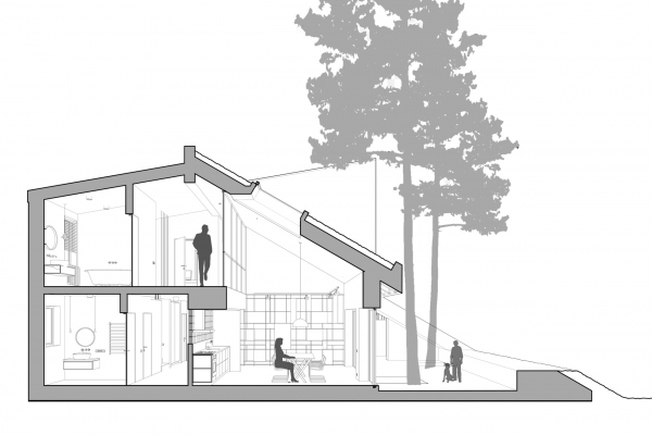 Разрез. Горка Дом © Snegiri Architects