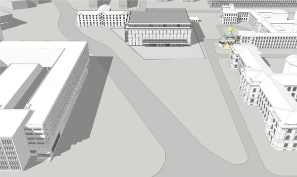 Панорамный вид сверху. Реконструкция вестибюля станции «Политехническая» и строительство МФК © Архитектурная мастерская «Рейнберг & Шаров»