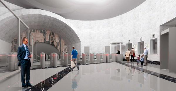 Внешний вид вестибюля. Реконструкции наземного вестибюля станции метрополитена «Парк Победы»  © Архитектурная мастерская Сахновского