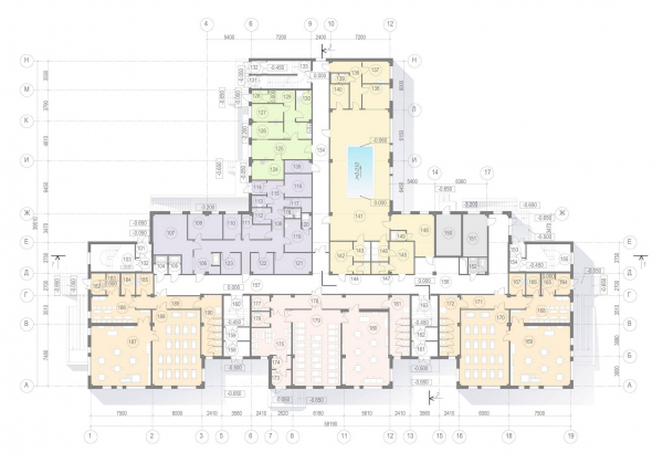 Plan of the 1st floor. Kindergarten #47 of the Pushkinsky District of St. Petersburg Copyright: © A.Len