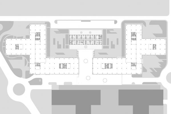 """План типового этажа. Офисный комплекс """"COMCITY"""" © АМ Сергей Киселев и Партнеры"""