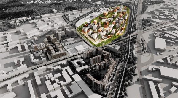 Лиговский Сити.Проектируемый жилой комплекс, а также «Первый квартал» и «Второй квартал» © KCAP Architects & Planners, Orange Architects, А.Лен