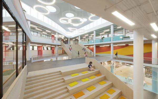 Атриум. Школа – ДОУ в ЖК «Испанские кварталы» © Архитектурное бюро ASADOV