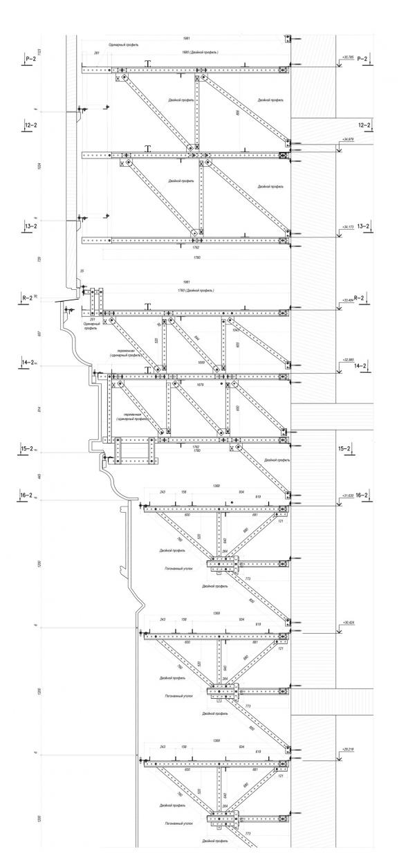 Главный храм ВС РФ. Угловые элементы звонницы. (вертикальное сечение) © предоставлено «ОРТОСТ-ФАСАД»