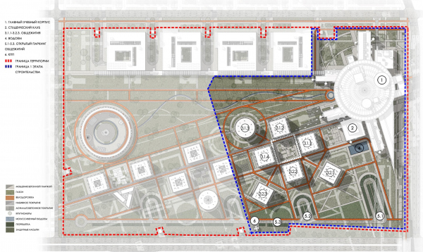 Кампус университета ИТМО. Концептуальная схема планировочной организации участка первой очереди   © Студия 44