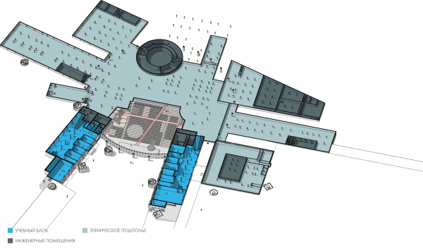Кампус университета ИТМО. Главный учебный корпус. Схема функционального зонирования на отметке 0.000 © Студия 44