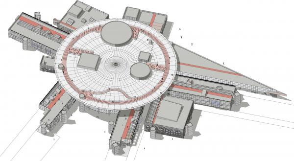 Кампус университета ИТМО. Главный учебный корпус. Схема функционального зонирования. Вид сверху © Студия 44