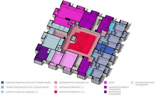 Кампус университета ИТМО. Общежития. Кампус университета ИТМО. Общежития. Схема функционального зонирования. Первый этаж © Студия 44
