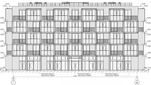 Кампус университета ИТМО. Общежития. Второй блок. Фасад 1-16 © Студия 44