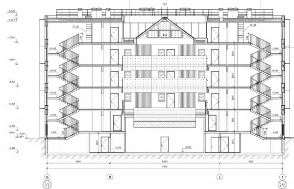 Кампус университета ИТМО. Общежития. Первый блок. Разрез 1 © Студия 44